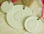 Reserved Listing for Brenda    White Clay Tag Sand Dollar Set of Three Use for Ornaments Wedding Favors Gift Tags