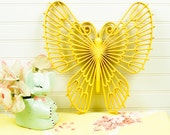 Yellow Butterfly Wall Hanging 1971 by Burwood