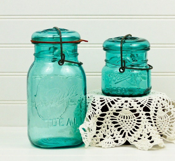 Blue Ball Mason Jars Rare Bicentennial Half Pint