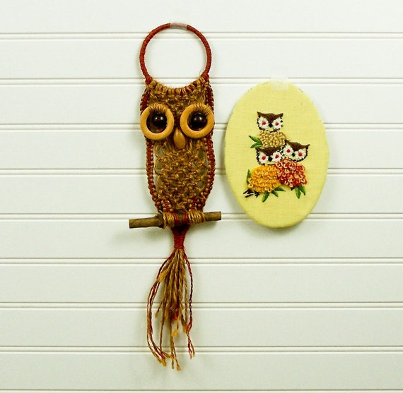 Vintage  Macramé Owl and Embroidered Owl