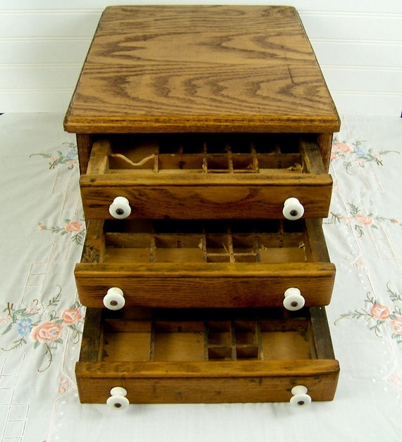 Antique Printers Cabinet Hamilton Mfg Wooden 3 Letterpress Tray Drawers