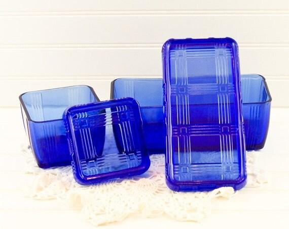 1930s Cobalt Blue Hazel Atlas Crisscross Refrigerator Covered Boxes