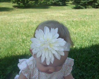 White Flower Headband. BIG FLOWER headband