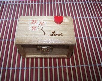 Valentine trinket wood box with sakura flower and heart