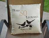 """16"""" cream cotton accent pillow cover with birds and anniversary date - Pillow Insert Sold Separately"""