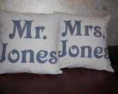Personalized Mr and Mrs pillow covers in natural linen look cotton, handpainted in gray with custom name - Pillow Inserts Sold Separately