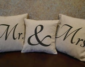 Mr & Mrs pillow covers - Set of 3 natural linen look  pillow covers with black lettering - Pillow Inserts Sold Separately