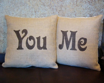 "Burlap ""You"" and ""Me""  pillow covers handpainted in brown - Pillow Inserts Sold Separately"