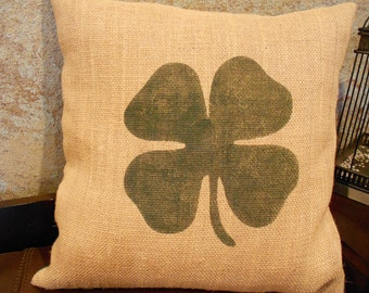 Burlap four leaf clover/shamrock pillow cover - St Patrick's Day - Pillow Insert Sold Separately