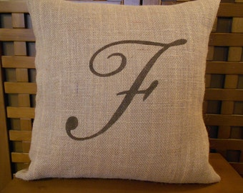 Monogram burlap pillow - initial - personalized pillow