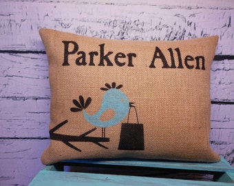 Girl's personalized pillow in burlap - customized pillow with a bird and her purse