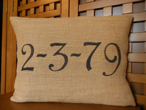 Personalized date burlap pillow cover - customized special day, handpainted in black - Pillow Insert Sold Separately