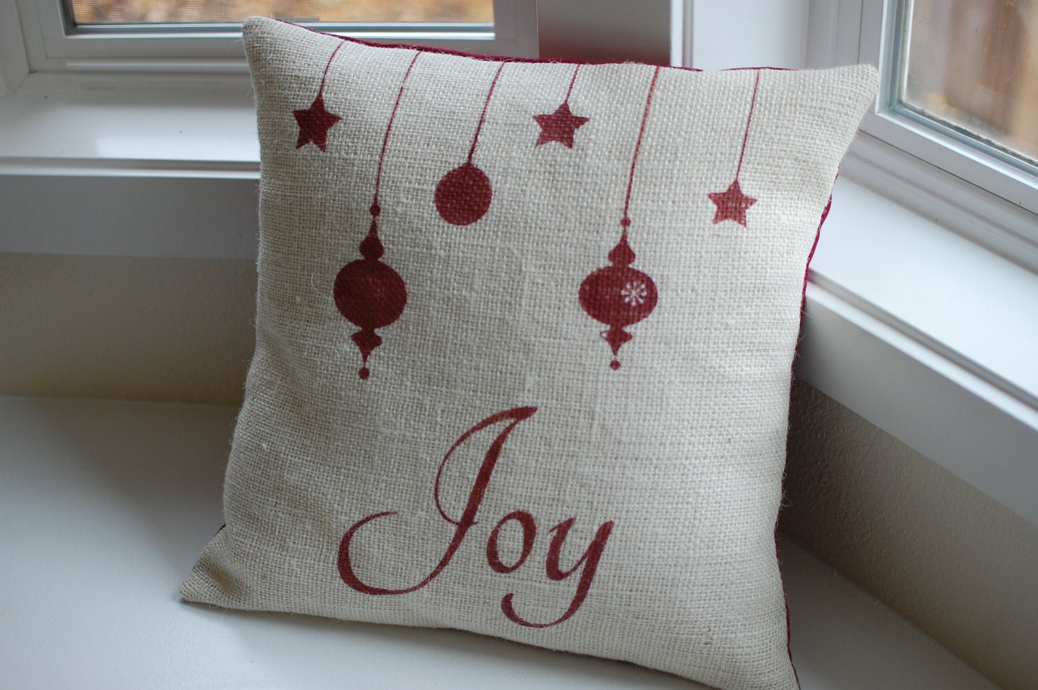 🔎zoom & Joy burlap Christmas pillow Joy pillow cover ornament pillowsntoast.com
