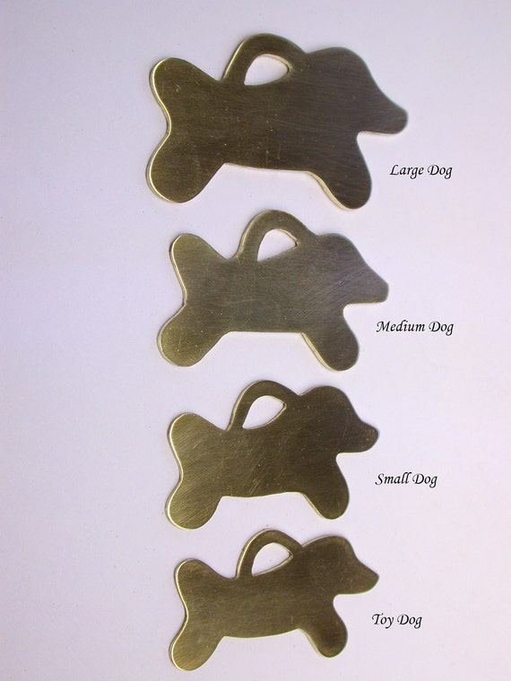 Dog id tags - Running Doggie Bones Blanks - each one individually constructed & hand engraved with name, tel number,  with fun stuff