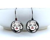 Marilyn Monroe Earrings - Red Lips - Glass Picture Earrings Art Earrings Handcrafted Jewelry by Lizabettas (1197)