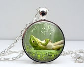 Lazy Frog Necklace - Happy Smiling Green Frog Toad Unique Art Nature Inspired Photo Pendant