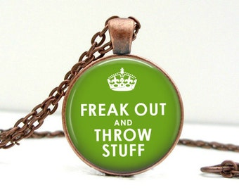 Freak Out & Throw Stuff Necklace Glass Picture Pendant Photo Pendant (1421)