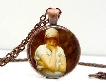 Leighton Solitude Necklace : Glass Art Pendant Picture Pendant Photo Pendant (1317)