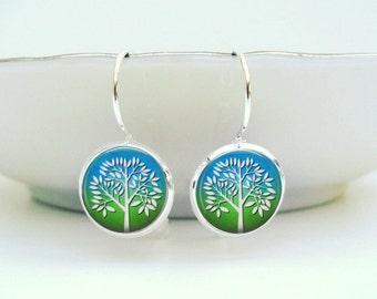 White Tree Earrings : Glass Art Earrings in Silver Picture Earrings Photo Earrings (1238)