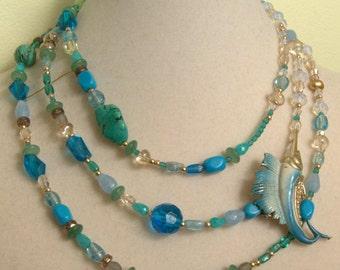 SALE Swordfish Ocean Necklace OOAK