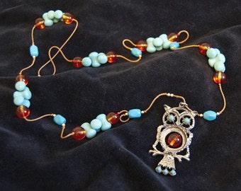 Long Turquoise and Orange Owl Pendant Necklace OOAK
