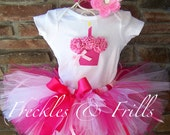 Ready to Ship - PINKALICIOUS - 3D Cupcake 1st Birthday Set Includes Tutu, Cupcake Onesie & Free Matching Flower Headband - Size 12-24 Months