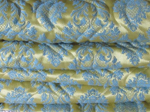 Bedspread, Vintage Full Sized Aqua and Gold Hollywood Regency