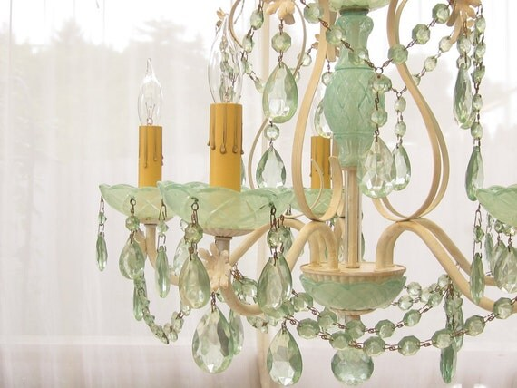 Vintage Chandelier, Aqua Crystal and Cut Glass, Swag or Hard Wired, Layaway Available