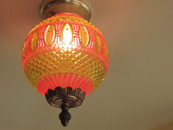 RESERVED for Anita, Final Installment, Cut Glass Light Fixture, Hand Tinted Hot Pink and Green, One of a Kind