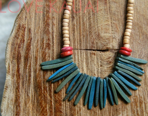 TUSK - Westside Hapa -  coconut and clay beaded fringe, tusk, tooth necklace