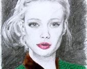 Original Pencil & Pastel Drawing Fashion Illustration