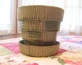 A Vintage McCoy Green Basket Planter