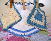 A Trio of Vintage Blue and White Crochet Pot Holders - FREE SHIPPING