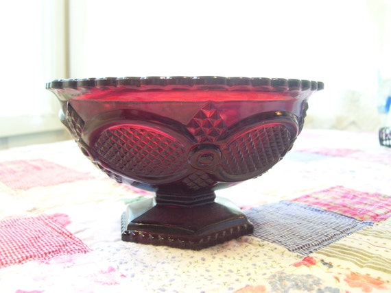 A Vintage Avon Red Cape Cod Candy Dish