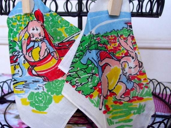 A Pair of Vintage Peter Rabbit Children's Hankies - FREE SHIPPING