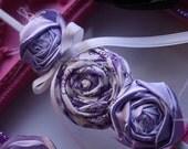 Triple Purple Rosette Headband