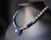 Sapphire Pearl- A swarovski crystal encrusted glass pearl necklace.
