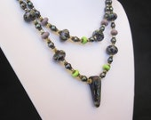 Thistledown - A lampwork focal, spacers, freshwater pearl and fire polished crystal necklace.