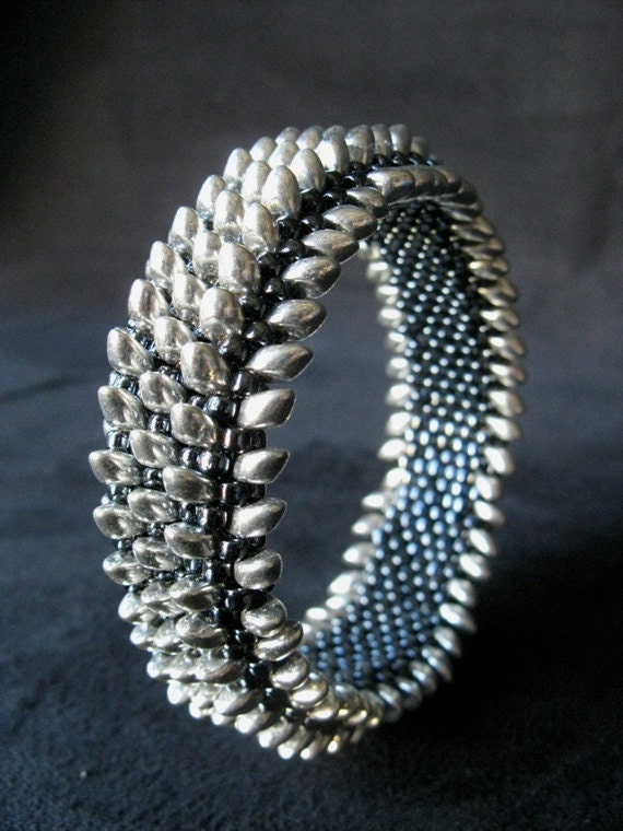 Silver Bead-Studded Bangle