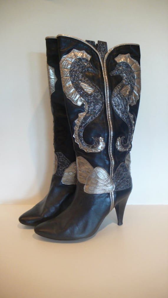 Seahorse Cowgirl Heeled Leather Boots, Size 7.5