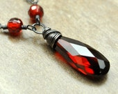 Passion Necklace, Garnet Red Long Faceted Cubic Zirconia (CZ) Briolette Wire Wrapped on Sterling Silver
