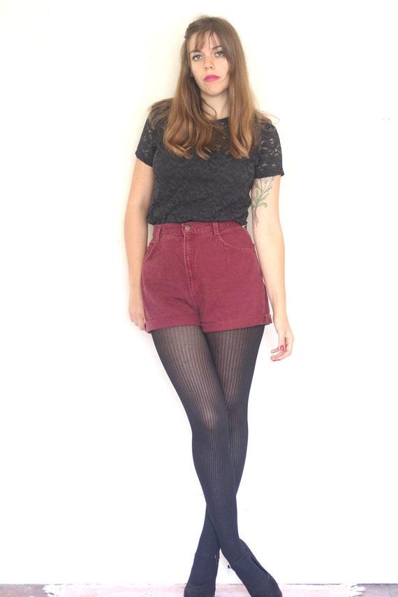 cranberry denim high waisted shorts (M)