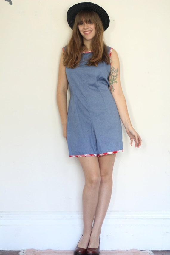 SALE vintage chambray romper with gingham trim (L)