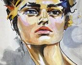 "ORIGINAL PAINTING- Portrait of a Woman ""Expectation"""