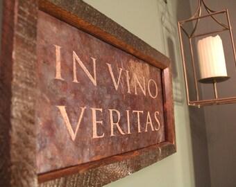 IN VINO VERITAS Copper Engraving, copper anniversary, 7th Anniversary gift, Bar sign, wine bar, wine decor, wine room, Wedding Gift