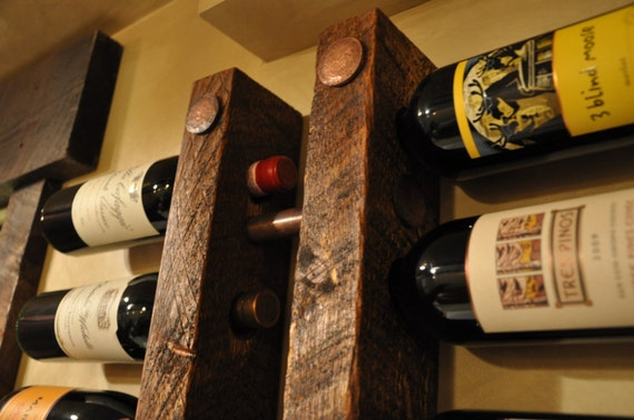 Tuscan Decor 16 Bottle Copper and Wood Wine Rack