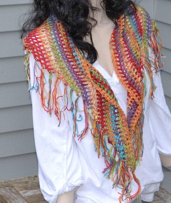 Crocheted Prayer Shawl Fringed Scarf Ready to ship Red Yellow Blue Green Hand Made Southwestern tt-team