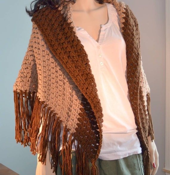 Crocheted Shawl Collared Fringed Chocolate Truffle Brown Tan EarthTones Fringe Large  tt tteam
