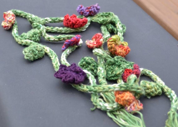 Flower Lariet Crochet  Flower Garland Hairwrap