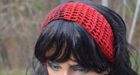 Wide Red Crochet Headband Hair Wrap Hair Band